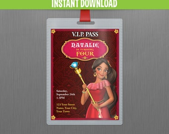 Disney Elena of Avalor VIP Pass Birthday Invitation - INSTANT DOWNLOAD - Edit and print at home with Adobe Reader - Elena of Avalor Party