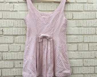80s Pink and White Checkered Sleeveless Dress with Bow on the back. S.L. Fashions. Medium.