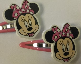 Hair Clips, Minnie Mouse Inspired Hair Clips, Party Hair clips, M