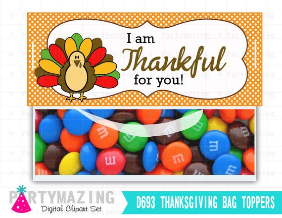10 Last Minute Thanksgiving Crafts: I know you may not have time lately to plan your kid's little gifts or party favors for Thanksgiving but don't worry help is on the way! here you have some last minute ideas for Thanksgiving by Mariapalito www.partymazing.com Printable Thanksgiving Bag Toppers, Turkey Thank You Printable Bag Tags, I am thankful for you Bag Topper , Instant download D693