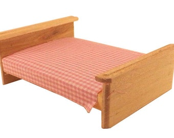 Unfinished Wood Pine Bed (Craft and dollhouse miniature furniture)
