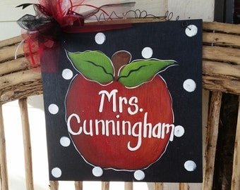 Personalized Teacher Apple Sign