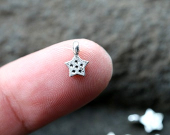 Star Charm, Silver Star Charm, Small Charms, Silver Tiny Charms, Super Tiny Silver Plated Tiny Star Charms MISCS006