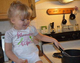 Mommy's Little Helper Kid's Cooking Apron - Baking with Mom, Kids Baking, Kids Kitchen, Kids Chef Apron, Kitchen Apron, Finger Painting
