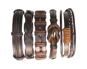 5 Individual Men's Handmade Brown Leather Bracelets For One Great Price  5P-422