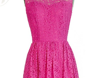 Evelyn Lace Overlay Vintage Inspired Dress //Magenta// Custom