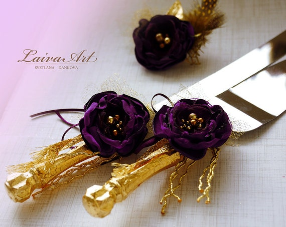decorate wedding cake knife cake server set amp knife purple and gold cake cutting by 13385