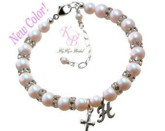 Baby Bracelet Personalized Baptism Gift Christening Gifts Baby Gift Little Girl Bracelet Personalized Baby Jewelry Cross Bracelet