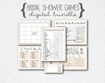 Tea Party Coffee Theme Bridal Shower 8 Games Bundle; Guess How Many; How Well Do You Know The Bride; Bingo; What's In Your Purse; Scramble