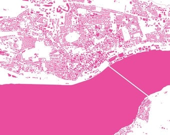 Dundee Map - Road Map or Building Map - Map Art Print of Dundee, Scotland - Free UK Postage