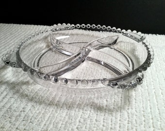 Four Part Relish Dish in Candlewick-Clear by Imperial Glass-Ohio