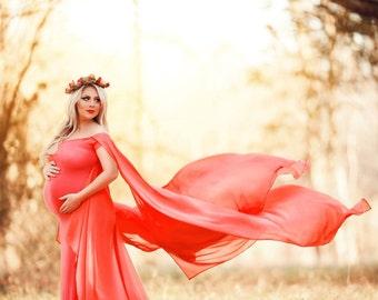 CLAIRE Chiffon Cape Maternity Gown, Chiffon Dress, Off Shoulders, Maternity Dress, Baby shower dress