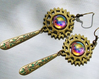 Steampunk Layered Gear Earrings with Rosaline Cabochons, and Hand Painted, Victorian, Etched Drops, Steampunk Earrings ERG39