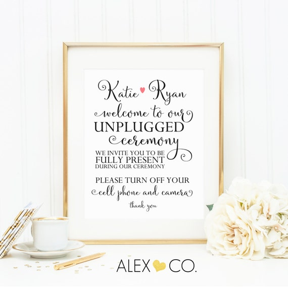 Debenhams Wedding Service Gift List Number: Personalized Unplugged Wedding Sign. No By Alexandcoprintables