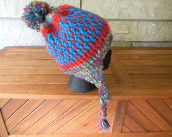 Hand Knit Ear Flap Hat, Pom Pom Knit Hat, Rainbow Pom Pom Peruvian Crash Helmet, Ear Flap Hat with Braids, Bohemian Ear Flap Hat, Warm Hat