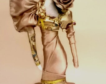 Cloth Art Doll Lady Rose Gold OOAK doll collection art deco