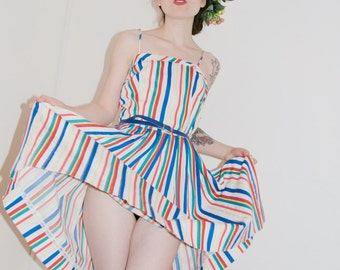 Striped circus dress with circle skirt S/M