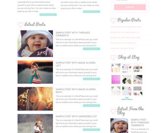 SALE!! WordPress Premade Theme: Feminine Wordpress Theme for Instant Download | 50% OFF Introductory Price!