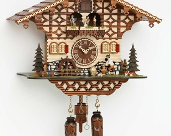 Original Schwarzwald-cuckoo clock moving Woodchopper, mill wheel, dancers and 12 melodies - cuckoo clock handmade Germany Black Forest