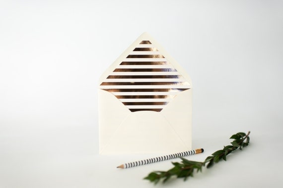 gold foil horizontal stripe lined envelopes (sets of 10)  // lola louie paperie