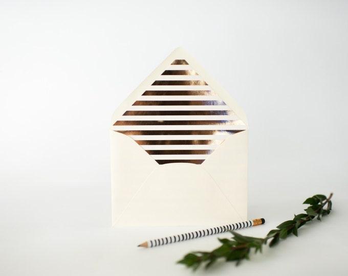gold foil horizontal stripe lined envelopes (sets of 10)  // lola louie paperie
