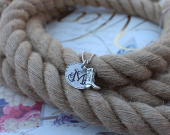 Cowgirl boot necklace, Sterling silver Cowboy boot and initial necklace