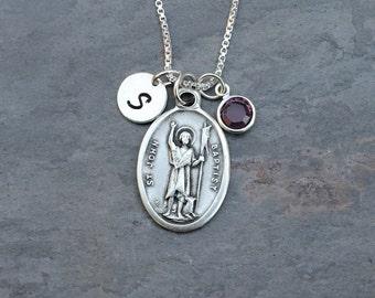 Saint St John the Baptist Necklace - Personalized Initial - Swarovski Crystal Birthstone or Pearl - Prophet, Precursor, Saint of Baptism