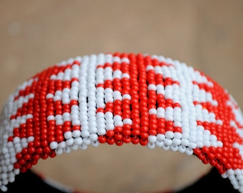 20% off! Red and White Bangle,African Beaded Cuff Bracelet,Beaded Statement Bangle,Geometric Cuff Bangle,Traditional African beadwork, Cuff