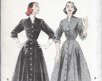 "Vintage 1950s Butterick Sewing Pattern 6304- Misses' Coat Dress size 14 bust 32"" uncut"