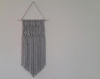 Gray Macrame Wall Hanging