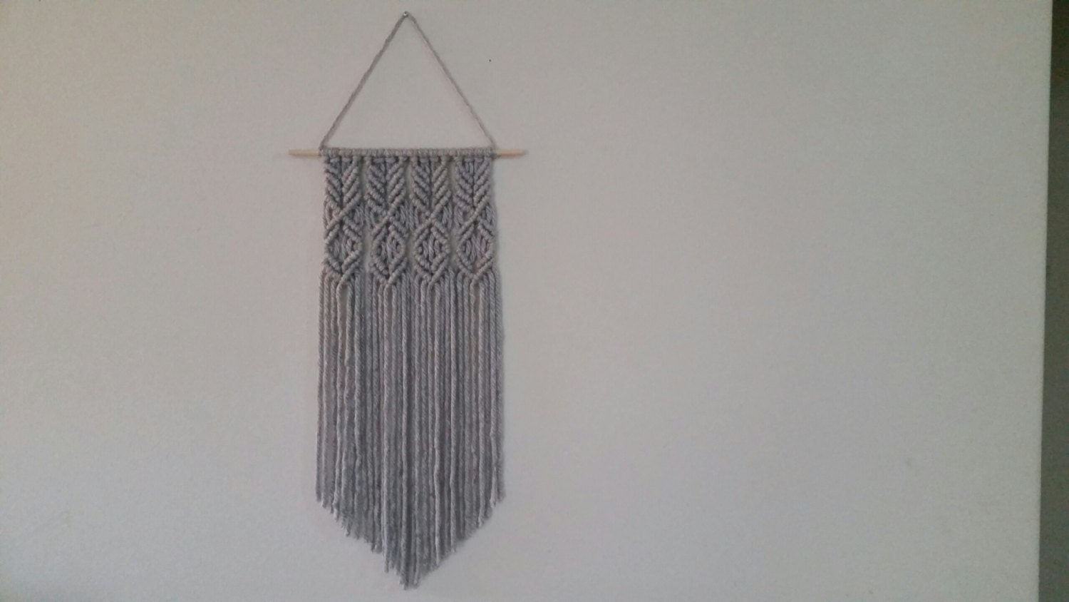 Gray Macrame Wall Hanging