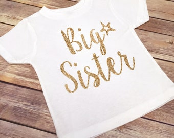 SALE!!! Big Sister with Star Bodysuit/Shirt // Gold // Metallic or Glitter // Baby, Toddler, or Girl