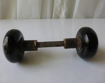 Vintage Early 1900's Black Ceramic Doorknob. Would look great as a doorknob or repurposed.