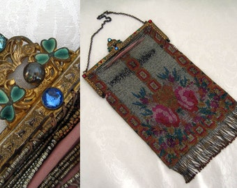 Antique French Steel Cut Micro Bead Handbag / Jeweled Frame / Enamel Shamrocks