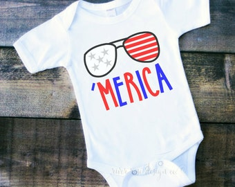 Merica Bodysuit, America, Bodysuit, Sunglasses, Patriotic, 4th of July, Memorial Day, Labor Day, Freedom,tshirt, 1st 4th of july, fourth