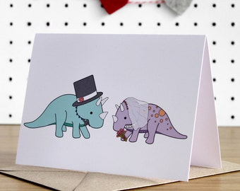 Wedding Card, Dinosaur wedding cards, dinosaur card, triceratops, love card, marriage, funny cards, bride and groom, wedding