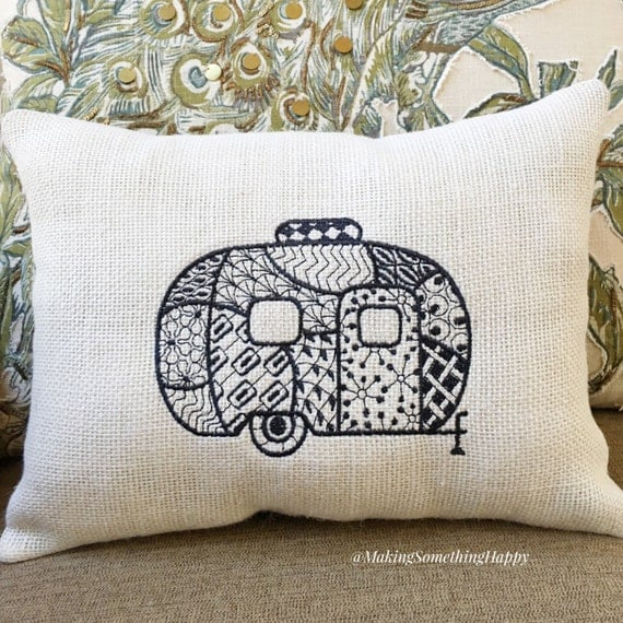 Items similar to Camping RV Pillow, Camper Decor, Throw Pillow Gift, Decorative Accessory ...