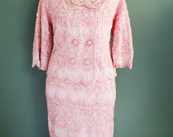 1950-60's - Pink -  Jackie O Style - Ribbon Textured - Suit - Mad Men - by Caledonia - Spring Wedding