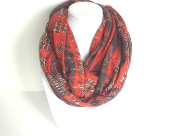 Orange Infinity Scarf, Burnt Orange Scarf, Knit Infinity Scarf, Winter Scarf