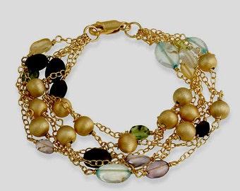 18k Gold Over Silver Vermeil Multi Strand Multi-Gemstone Bracelet