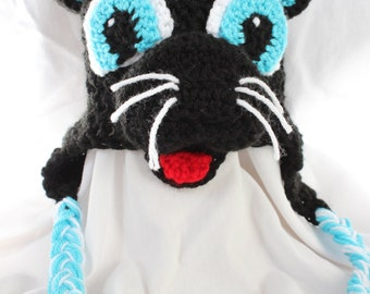 Crochet Carolina Panthers Adult Hat with Ear Flaps - for Men or Women - Sir Purr Mascot inspired