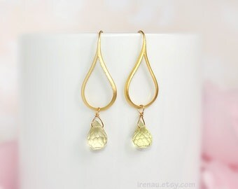 Small hoop gold earrings, Lemon quartz earrings, Natural gemstone earrings, Modern everyday teardrop earrings, Yellow drop dangle earrings
