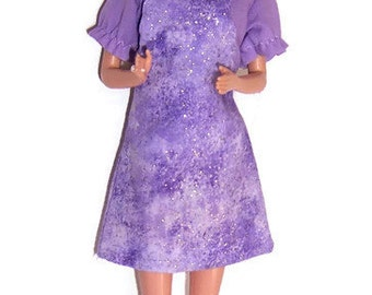 Fashion Doll Clothes-Glittery Lavender Jumper & Lavender Blouse