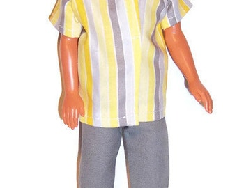 Male Fashion Doll Clothes-Gray/Yellow/White Striped Shirt and Gray Pants