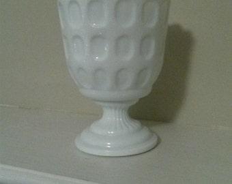 Thumbprint Milk Glass Pedestal Vase