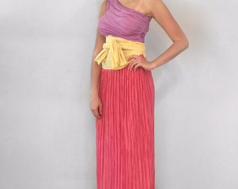 Vintage 1980's Mary McFadden One Shoulder fortuny pleated Dress