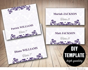 DIY Wedding Placecard Template 3.5x2 Foldover,Purple Placecards Instant Download,Microsoft Word Template,Wedding Seating Placecards