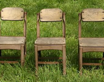 Three ANTIQUE School Chairs
