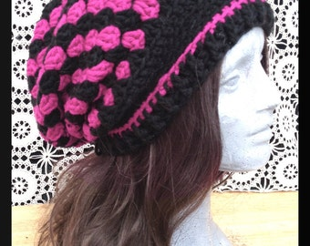 Gwendolyn Slouch // Black and Pink Cluster Stitch Slouch Hat