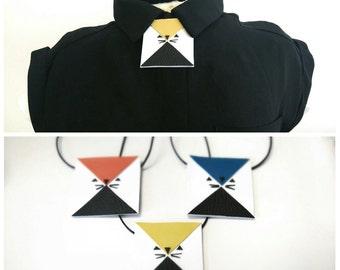 SALE Fox necklace, Kawaii fox necklace, bow tie alternative, geometric necklace, collar accessory, shirt accessory, shirt brooch